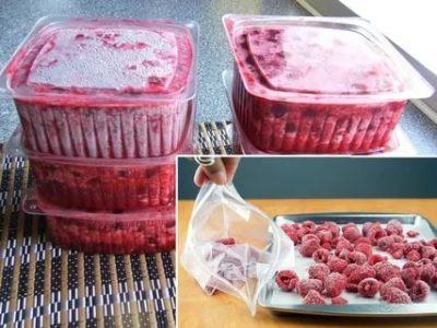 Как заморозить малину с сахаром в контейнере