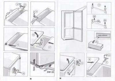 Как перевесить дверь холодильника Snaige