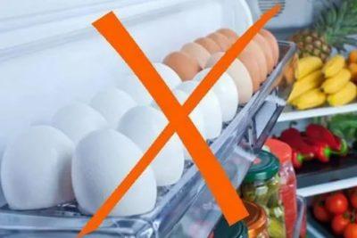 Почему Яйца нельзя хранить в дверце холодильника
